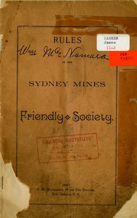 Rules of the Sydney Mines Friendly Society