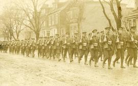 Percy Willmot, 25th Battalion, CEF: Marching in street
