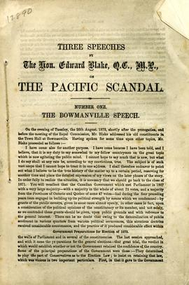 Three Speeches by The Hon. Edward Blake, Q.C., M.P., on the Pacific Scandal