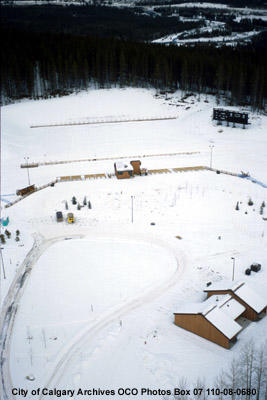Aerial View of Biathlon Target Area, Canmore Nordic Centre, Canmore, Alberta