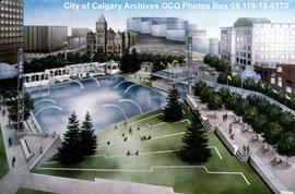Artist Rendering of Olympic Plaza During Daylight, Calgary, Alberta