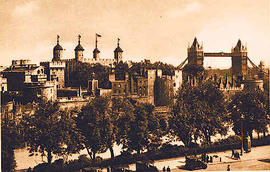 The Tower of London and the Tower Bridge.