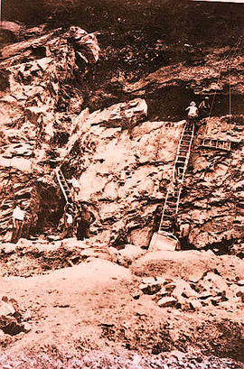 Dr. Otto Zdansky, an Austrian paleontologist, (left) and his crew excavating the Sinanthropus pek...