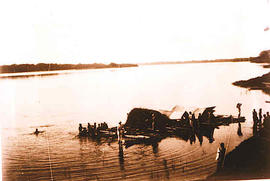 A raft on an African river.