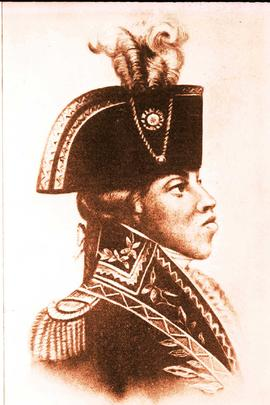 Drawing of Toussaint Louverture, the liberator of Haïti.