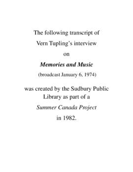 Transcript of Vern Tupling's Interview on Memories and Music