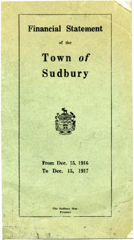 Financial Statement of the Town of Sudbury From Dec. 15, 1916 to Dec. 15, 1917