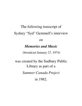 Transcript of Syd Gemmell's Interview on Memories and Music