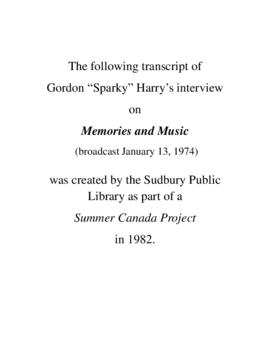 "Transcript of Gordon ""Sparky"" Harry's Interview on Memories and Music"
