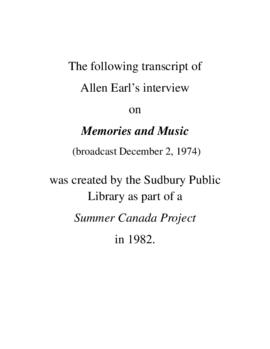 Transcript of Allan Earl's Interview on Memories and Music