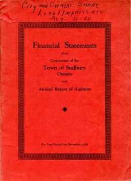 Financial Statements of the Corporation of the Town of Sudbury Ontario and Annual Report of Auditors