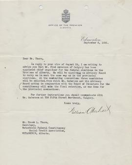 Correspondence from William Aberhart, Premier of Alberta to Frank Thorn, Secretary