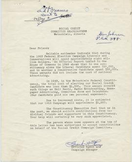 Correspondence from Frank Thorn, Official Agent and Campaign Manager to possible contributors to ...