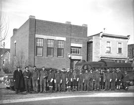"""Group of telephone gang at Telephone Office,"" Wetaskiwin, Alberta."