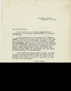 Correspondence from William Aberhart to Fred Anderson