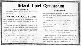 Advertisement for Jack Rinehardt (also spelled Reinheart), physical instructor, sponsored by the Driard Hotel Gymnasium, Wetaskiwin, Alberta.