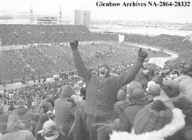 Half-time photo from bleachers at McMahon Stadium, during the Grey Cup game, Calgary, Alberta.