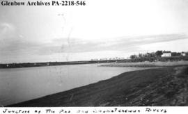 """Juncture of The Pas and Saskatchewan Rivers, at The Pas"", Manitoba."
