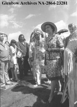 Queen meeting members of Indian Village from the Calgary Exhibition and Stampede, Calgary, Alberta.