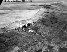 Aerial photo of Old Women's Buffalo Jump (centre) looking southwest, near Cayley, Alberta.