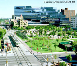 Aerial view of City Hall and Olympic Plaza in downtown city centre, Calgary, Alberta.