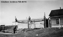 Building/construction at Hudson's Bay Company (HBC) post, Long Lake, Ontario.