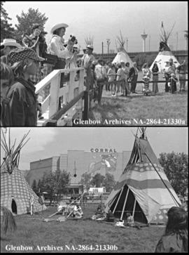 Indian Village and First Nations of Alberta people, with amateur photographers, Calgary, Alberta.