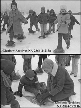 Children learning to snowshoe, Calgary, Alberta.