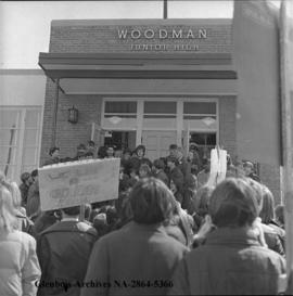 Woodman Junior High School with protest march to be allowed to have high school dance, Calgary, A...