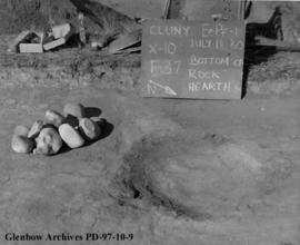 An excavated fireplace, Cluny Earthlodge Village archaeological excavation, Blackfoot (Siksika) r...