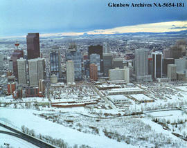 Aerial view of Greyhound Bus barns looking towards downtown city centre, Calgary, Alberta.