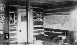 Interior of log builiding, southern Alberta.