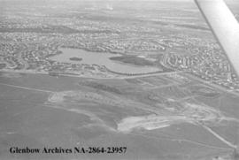 Aerial views of the Lake Bonaventure area, Calgary, Alberta.