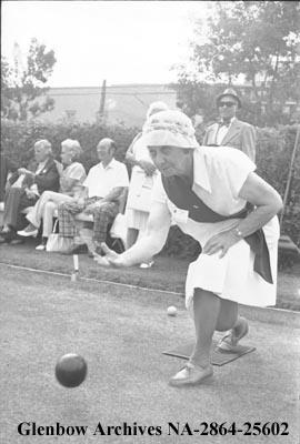 Lawn bowling for senior ladies, Calgary, Alberta.