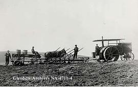 Rumley oil pull tractor and gang plough, Alderson (formerly Carlstadt), Alberta.
