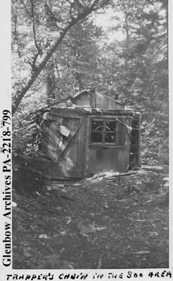 """Trapper's cabin in the Soo area"", [Sault Ste. Marie], Ontario."