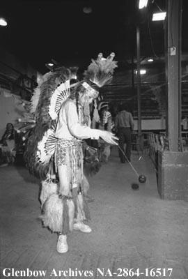 David Meguinis, Sarcee, during dance competition at Calgary Exhibition and Stampede, Calgary, Alb...