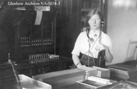 Lilly McIntosh, telephone operator, Carlstadt (later Alderson), Alberta.