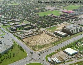 Aerial view showing Heritage Square site, Calgary, Alberta.