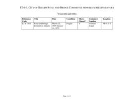 City of Guelph Road and Bridge Committee minutes