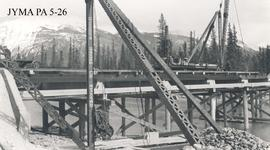 Close-up of the lower panels on the Athabasca Bridge during construction, Jasper National Park, A...