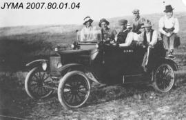[Survey party members in automobile], Alberta