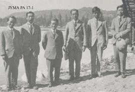 Members of the Japanese Mount Alberta Expedition at the Jasper Park Lodge, Jasper National Park, ...