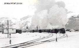 Railroad yard in winter, Jasper, Alberta.