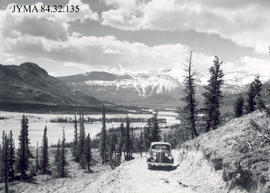 Automobile on the Celestine Lake Road, Jasper National Park, Alberta.