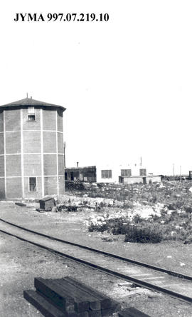 C.N.R. Water tank and roundhouse, Jasper, Alberta.