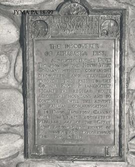 A plaque on the cairn at Old Fort Point, Jasper National Park, Alberta.