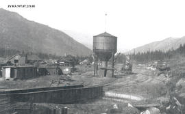 Lucerne Railroad Yard, turntable and water tower, British Columbia.