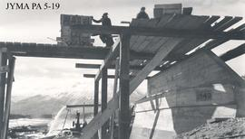 Completion of the north abutment during construction of  the  Athabasca Bridge., Jasper National ...