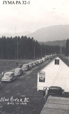 An automobile rally at Blue River, British Columbia.